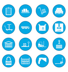 Warehouse logistic storage icon blue vector