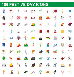 100 festive day icons set cartoon style vector