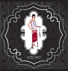 Retro party card fashion woman girl in cocktail vector
