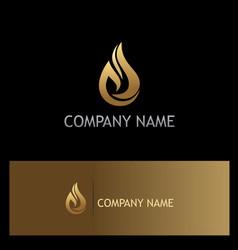 water drop ecology gold logo vector image