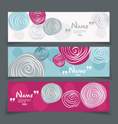 Banner set with flower design vector