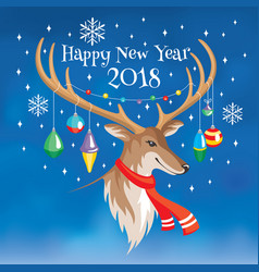 2018 new year greeting card with deer vector