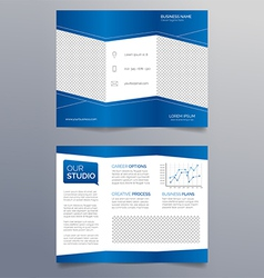 Business trifold brochure template - modern blue vector