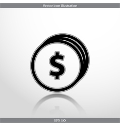 Coins with dollar sign web flat icon vector