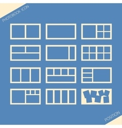 Icon set of location photos in photobook vector