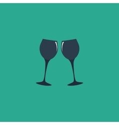 Two glasses of wine or champagne icon vector
