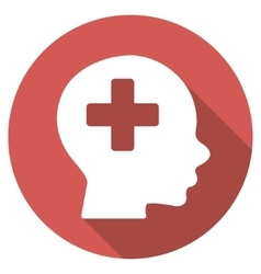 Head medicine flat round icon with long shadow vector