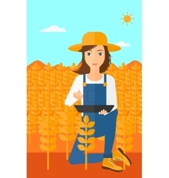 Woman with tablet computer on field vector