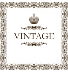 vintage frame decor crown vector image