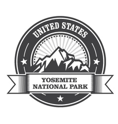 Yosemite national park round stamp with mountains vector