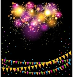 Holiday background with fireworks vector