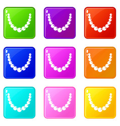 Bead icons 9 set vector