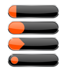 Black buttons with orange tags menu interface vector