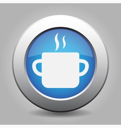 Blue metal button with cooking pot vector