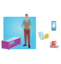 Businessman worker employee in casual clothes vector