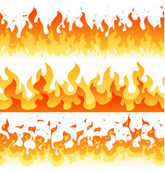 Cartoon fire flame seamless frame borders vector
