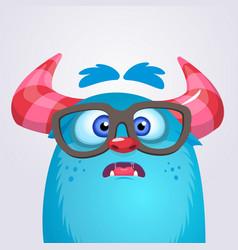 cartoon yeti monster wearing glasses vector image vector image