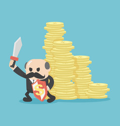 concept businessmen protect his money vector image