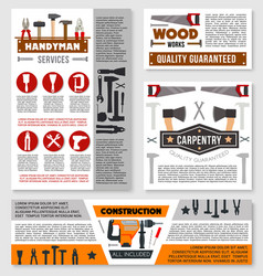 construction business banner with work tool vector image vector image