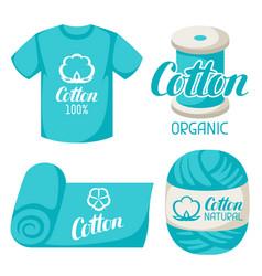 cotton label on t-shirt fabric thread yarn vector image vector image