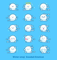 Flying snowballs emodji emoticons cute vector