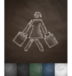 Girl with shopping bags icon hand drawn vector