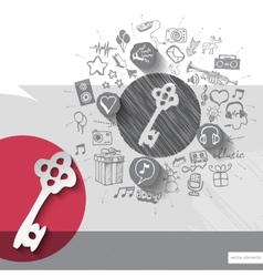 Hand drawn key icons with icons background vector image vector image