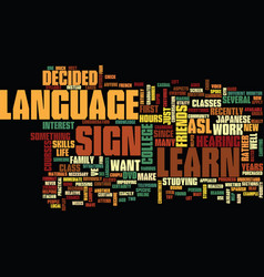 Learn sign language text background word cloud vector