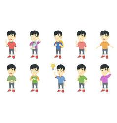Little asian boy set vector