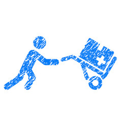 medical shopping cart grunge icon vector image vector image