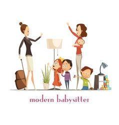 Modern babysitter nanny service cartoon vector