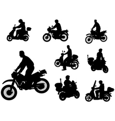motorcyclists silhouettes vector image vector image