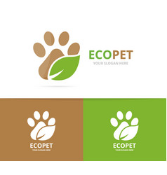 Paw and leaf logo combination pet and eco vector