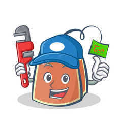 Plumber tea bag character cartoon vector