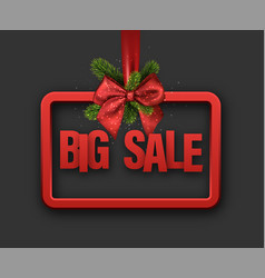Red big sale card with bow vector