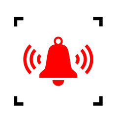 Ringing bell icon red icon inside black vector