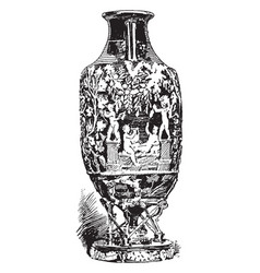 Roman cameo-glass amphora from pompeii vintage vector
