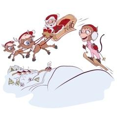 Santa claus and reindeer met monkey symbol 2016 vector