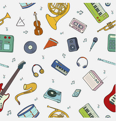 seamless pattern with various musical instruments vector image vector image