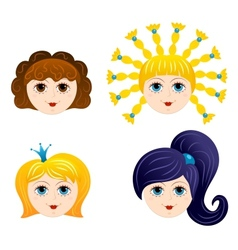 Set of girls faces 1 vector image