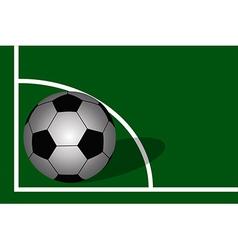 Soccer ball on soccer field background vector image