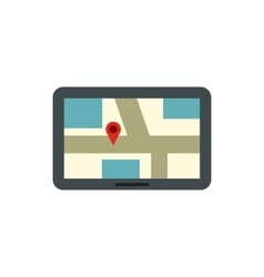 Tablet with a map of area icon flat style vector image vector image