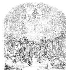 The trinity is in the belvedere vintage engraving vector