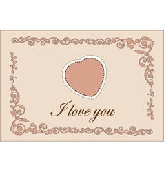 Traditional Valentine Day Heart Greeting Template vector image