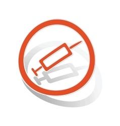 Vaccine sign sticker orange vector