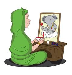 Woman worshipping lord ganesha vector