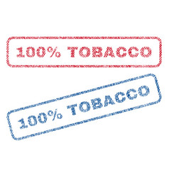 100 percent tobacco textile stamps vector
