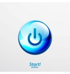 Blue start button vector