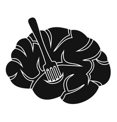Fork is inserted into the brain icon simple style vector