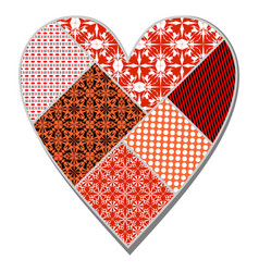 Isolated heart in patchwork art design in red vector